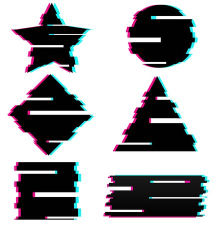 Set of black abstract elements in Glitch Style Illustration