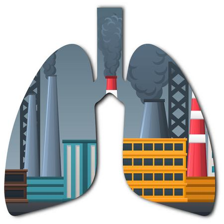Illustration of lungs in double exposure effect with pollution and factories isolated on white background Illustration