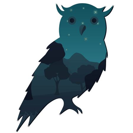 Owl with double exposure effect of a night nature,forest,mountains landscape isolated on white background Illustration