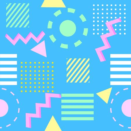 Seamless,vintage vector, abstract geometric, retro,memphis pattern with different colored shapes isolated on blue background