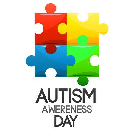 World Autism Awareness Symbols Set Heart Ribbonlight Bulb