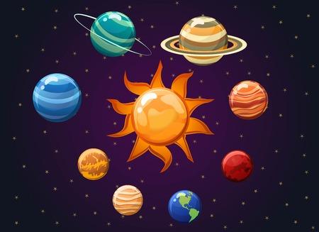 Solar system vector illustration isolated on space background vector illustration showing planets. Illustration