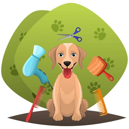 Dog getting groomed at pet grooming salon. Animal grooming salon illustration. Pet shop concept. Vector illustration. Vectores