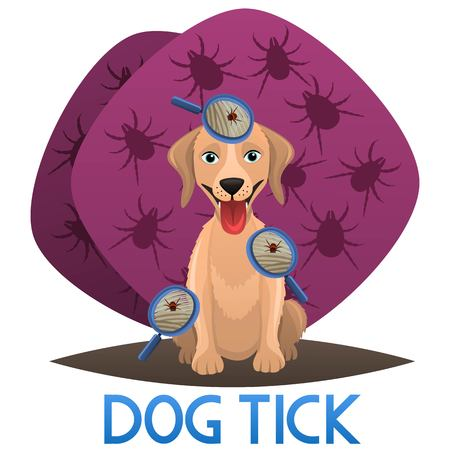 Tick on dog fur showed by magnifying glass. Dog veterinary issue. Vector illustration Illustration