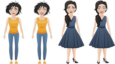 Set of emotional women in different clothes, Sad and happy woman.
