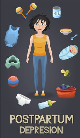 Postpartum depression illustration with Sad mother, exhausted with laundry and baby care items toys, food flying around her. Illustration