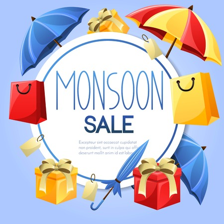 Monsoon vector sale banner design.Circle label with shadow.Card for monsoon season. Vector illustration Çizim