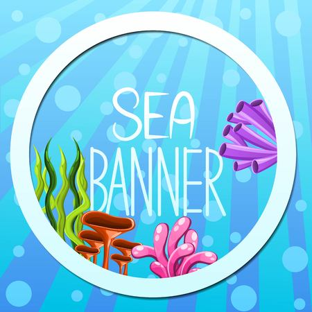 Vector banner design with underwater flora.Round banner.Concept with plants and aquatic marine algae, seaweed and corals. Underwater sea life. Vector illustration.