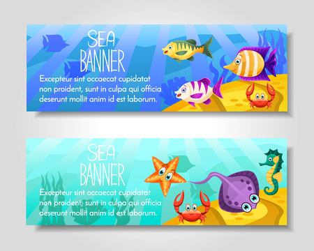 Set of 2 brochure with animals and aquatic fauna fish,seahorse,crab,star. Template for flyer, magazine, poster,cover, banner,greeting card,invitation. Vector illustration