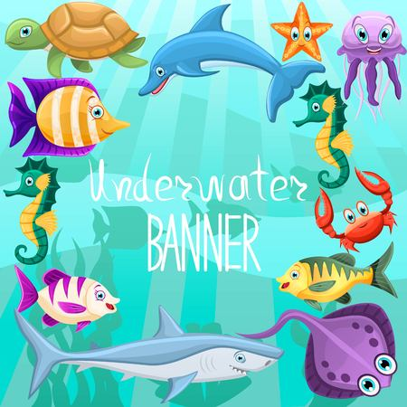 Vector banner design with underwater fauna.Text isolated in center. Concept with animals fishes,shark,dolphin,turtle,seahorse,crab,jellyfish. Underwater sea life. Vector illustration.