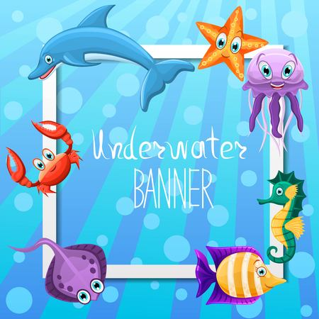 Vector banner design with underwater fauna. Square banner.Concept with marine animals crab, dolphin, seahorse, fishes, jellyfish, star. Underwater sea life. Vector illustration. Illustration