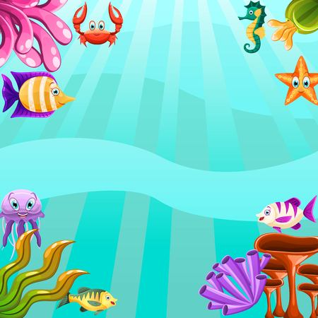 Underwater poster with fauna and flora isolated on water background.Concept with plants and aquatic marine algae, seawed and corals and sea animals fish, jellyfish,star,crab. Vector illustration