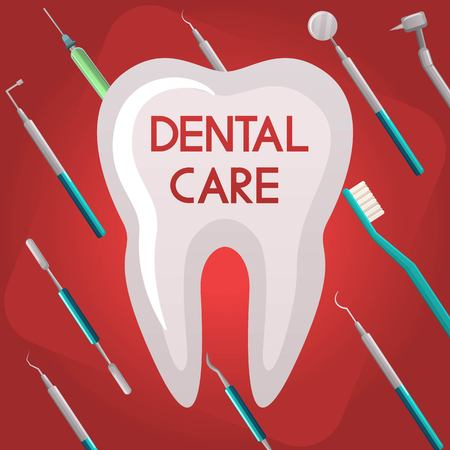 dental and orthodontics instruments and tools,dental care illustration, poster. Medical dentistry illustration