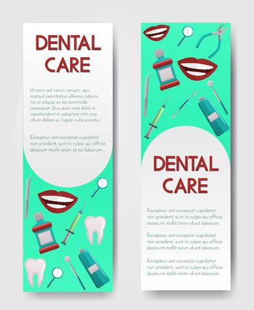 Set of 2 brochures about dental care,stomatology clinic and orthodontics,dental hygiene and services,instruments and treatment. Oral hygiene.