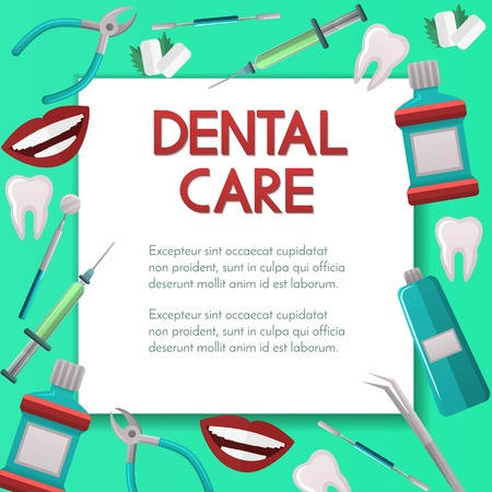 Stomatology square vector banner with shadow,poster design on background with dental and orthodontics instruments and tools,dental care, market concept.