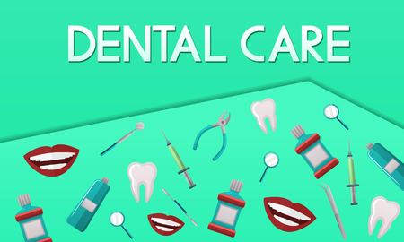 Stomatology vector banner design with dental instruments and dental care objects. Perfect for cover, poster, invitation, brochure. Orthodontics, dental clinic card, label concept. Vettoriali