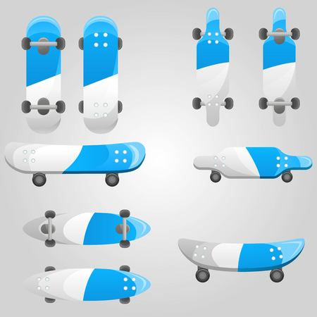 Set of different blue and white skateboards types. Summer youth lifestyle activities set. Collection of skates isolated