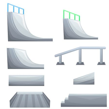 Set of ramp, roller, stairs for a skatepark. Items for skateboarding. Different objects for modern hobby and sport. Vettoriali
