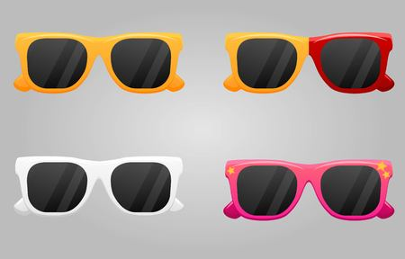 Set of different colorful sunglasses icons isolated on white background. Summer objects. Hipster fashion items. Illustration