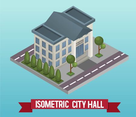 Vector low poly isometric 3d city hall. Vector isometric icon or infographic element representing a public government building. Detailed street with mayor municipal office.