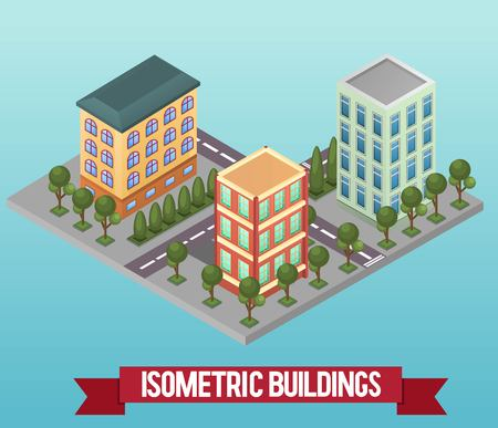 Vector isometric building. Vector low poly isometric icon or infographic element representing private houses or offices. Detailed street with trees and houses.