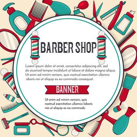 Vintage barbershop vector banner design with man brooming equipments mirror, scissors, barber pole, hairdryer.Round label.Template for salon advertising. Vector illustration Illustration