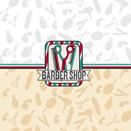Barbershop hipster salon illustration. Background with and pattern with salon equipment. Vintage man hair brooming salon. Shave retro template . Vector illustration.