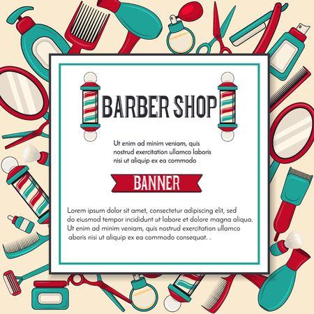 Vintage barbershop vector banner design with man brooming equipments mirror, scissors, barber pole, hairdryer.Square label.Template for salon advertising. Vector illustration Illustration