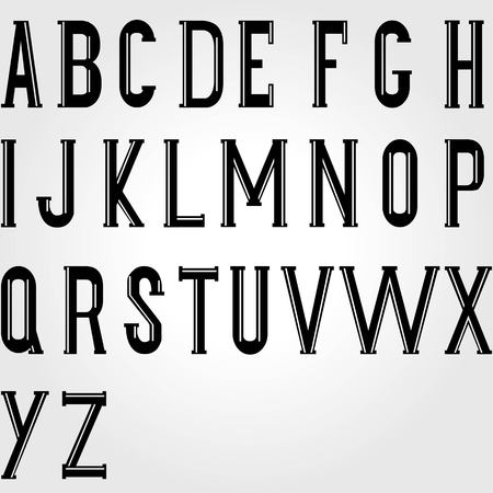 Vintage typeface font. Uppercase letters in retro style. Ideal for old style design. Elegant label. Vector illustration Illustration