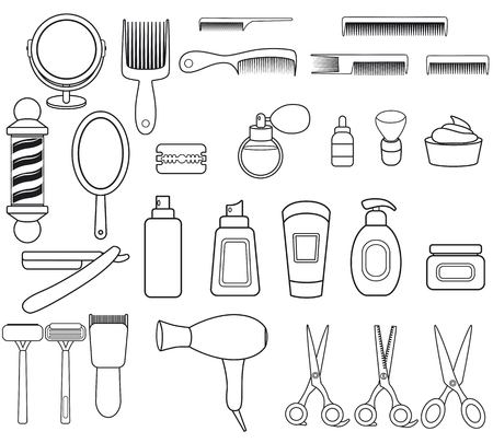 Set of outline icons with barbershop equipment. Barbershop collection with with comb, scissors, oil,mirror,hairdryer, razor, shaving brush, pole, scissors, bottle spray Linear icons