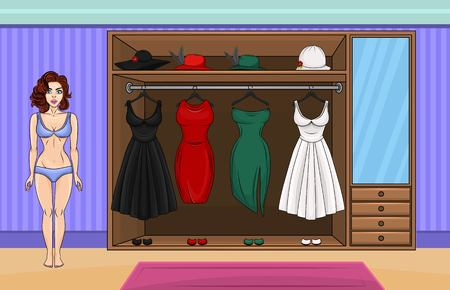 Vector illustration of a home wardrobe room. Concept for a dress up game with a beautiful woman with brown hair. Collection of vintage dresses. Vector illustration. Illustration