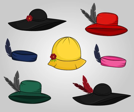 Set of vintage cartoon hats with flowers and feathers in sketchy style. Woman accesories.