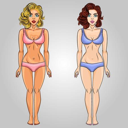 Jeu de caractères de cheveux blonds et bruns femmes pop art. Parfait pour une affiche, une illustration, une bannière ou pour un personnage de jeu. Illustration vectorielle.