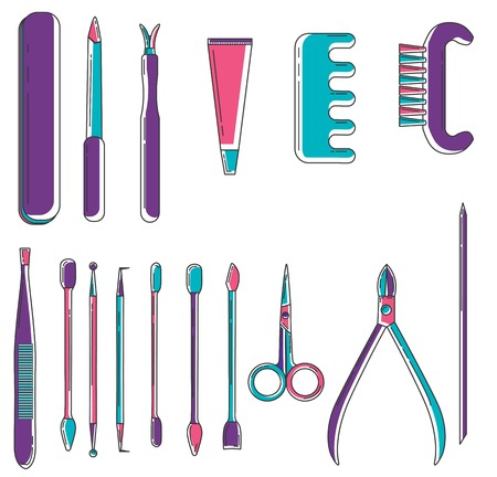 Set of linear colored manicure objects. Flat icons of scissors,nail file,clipper, polish, brush, cuticle nipper, orangewood stick, pusher, dotting pen. Vector nail care collection. Spa salon.