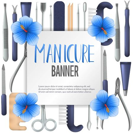Square vector banner design with realistic manicure equipment. Mesh gradient object of scissors,nail file,clipper, polish, brush, cuticle nipper, orangewood stick, pusher, dotting pen. Vector illustration.