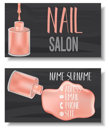 Vector modern business card template set with realistic, mesh gradient nail polish bottles. Front page and back page template with opened nail polish bottle with paint splashes. Ilustração