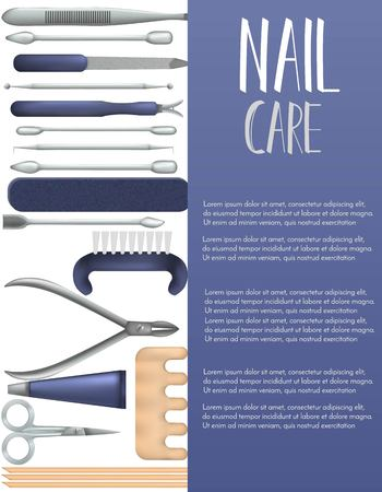 Nail care banner,page with realistic manicure objects. Salon, shop advertisement concept. Template for flyer, magazine, poster,cover, bannergreeting cardinvitation