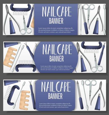 Set of 3 brochure with realistic manicure objects. Salon, shop advertisement concept. Template for flyer, magazine, poster,cover, banner,greeting card,invitation Archivio Fotografico - 104281309