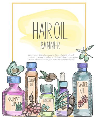 Banner with gold line and with natural oil bottles for hair care and ingredients in watercolor sketchy style drawing. Template for flyer, magazine, poster,cover, branding, banner,greeting card,invitation. Vector cosmetic