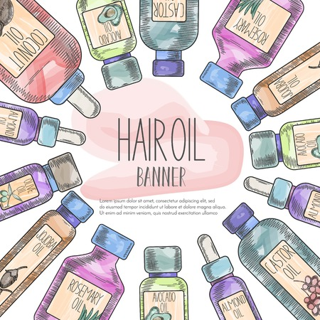 Label with natural oil bottles for hair care in watercolor sketchy style drawing and centered text. Template for flyer, magazine, poster,cover, branding, banner,greeting card,invitation. Vector cosmetic