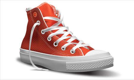 スニーカー: 靴の白い背景ベクトル イラスト