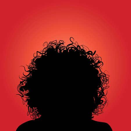 cabello negro: Rizado el cabello Vectores