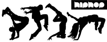 silhouette dancer: Hip Hop silueta Vectores