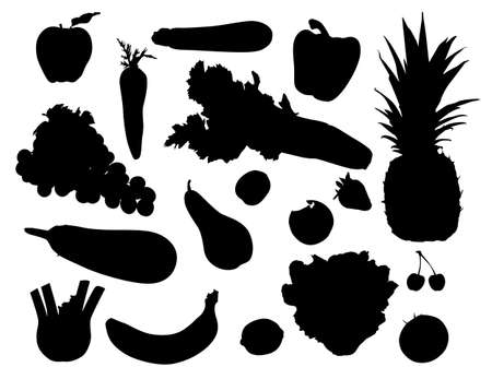 Silhouette fruits and vegetables Vector