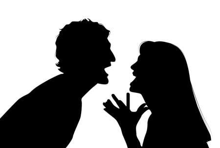 violencia familiar: Pareja argumentando