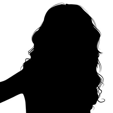 hair style set: Silhouette woman with long hair