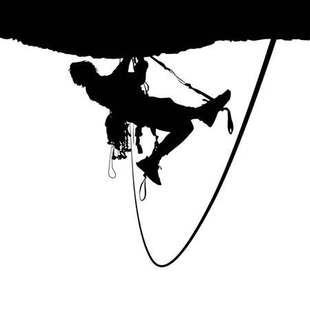 cliff: Climbing vector silhouette Illustration