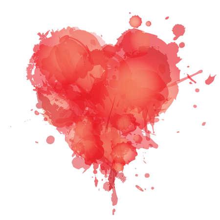 Coeur avec des taches d'aquarelle et des éclaboussures