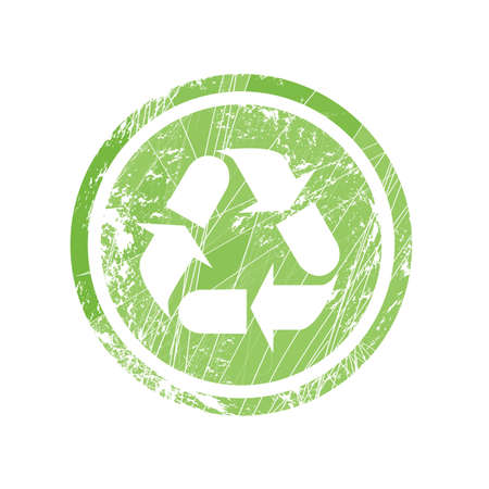 Recycling symbol for stamp and labels Illustration