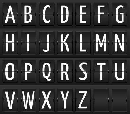 Set of letters on a mechanical information board, isolated elements Vector
